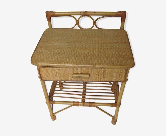 table de chevet bambou avec un tiroir ann es 70 bois. Black Bedroom Furniture Sets. Home Design Ideas