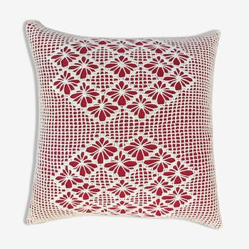 Vintage crochet embroidery cushion