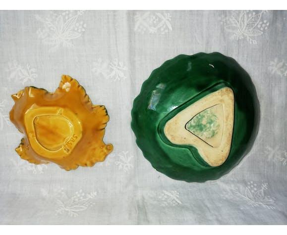 """Duo de plats """"feuilles"""" barbotine"""
