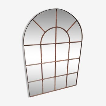 Ancienne verri re d 39 atelier miroir industriel patine graphite vintage m tal gris for Miroir arrondi
