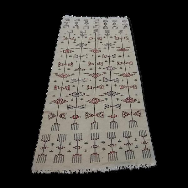 Tapis blanc berbère traditionnel multicolore 200×105cm