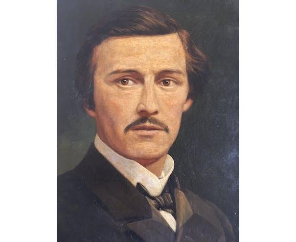 Peinture flamande portrait d'homme 1872 signé huile sur toile