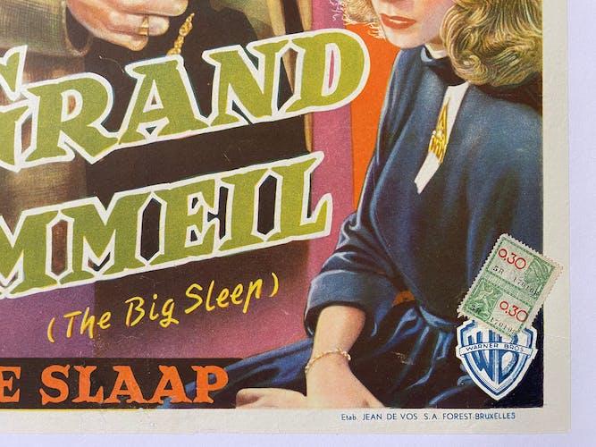 """Affiche cinéma belge """"Le Grand Sommeil"""" Humphrey Bogart, Lauren Bacall 35x47cm 1950"""