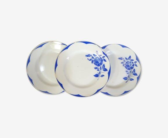 Set de 3 assiettes plates Digoin Sarreguemines modele corsica