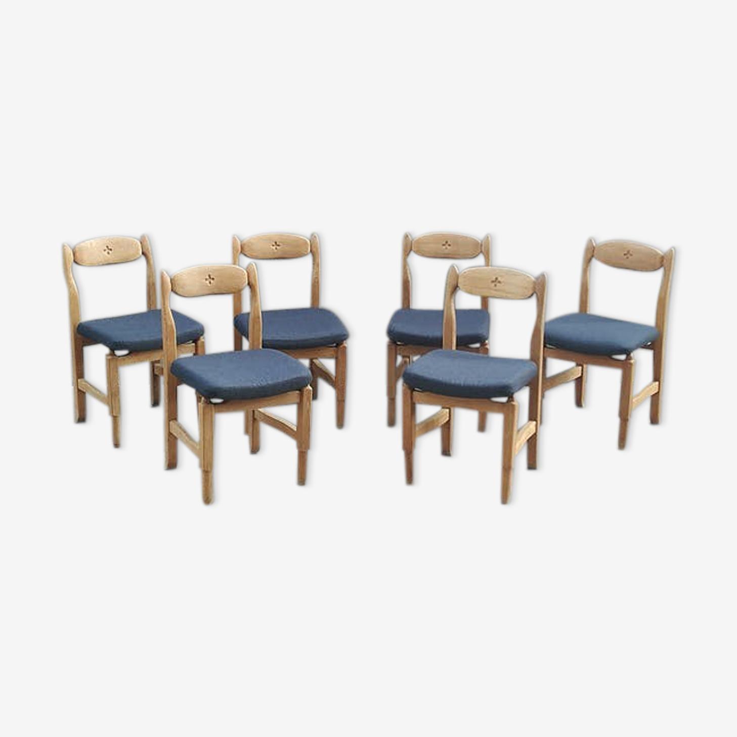 Set de 6 chaises modèle Lorraine de Guillerme et Chambron