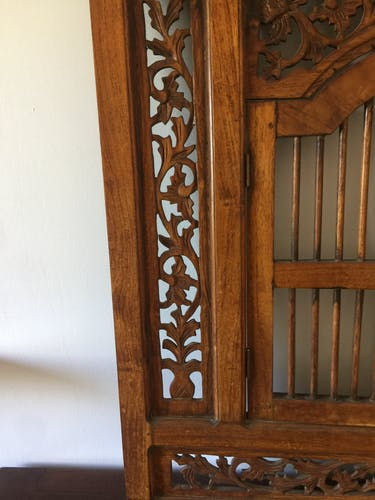 Indian carved wood window