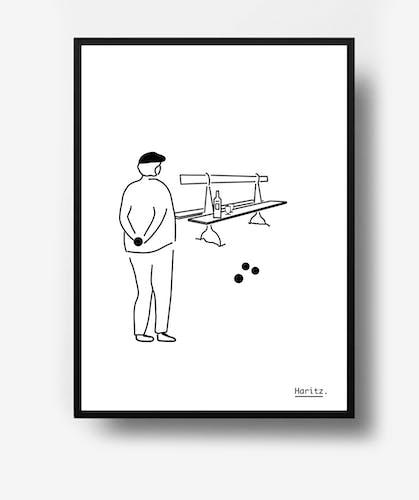 """Illustration, pétanque """" Le pétanqueur"""""""