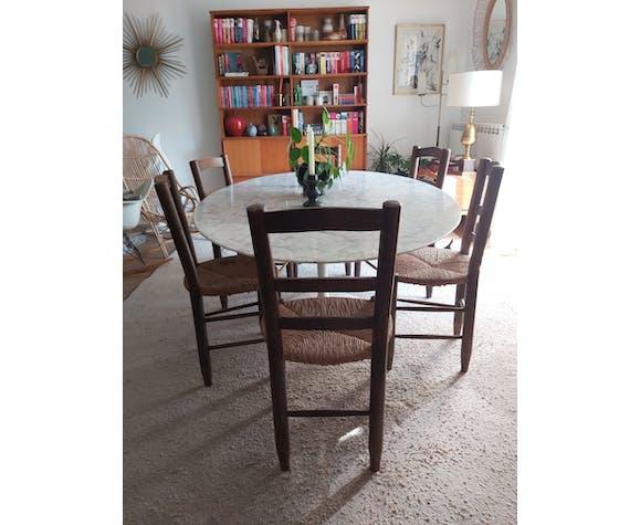 Set de 6 chaises en bois et paille années 50