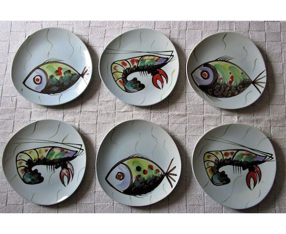 Six assiettes Pornic aux poissons et écrevisses