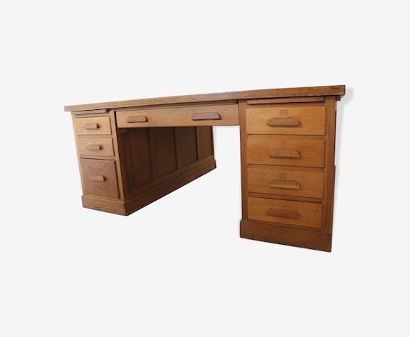 Grand bureau américain double face bois matériau bois couleur