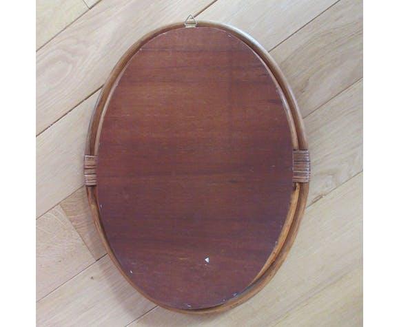 Miroir ovale en rotin - 48x37cm