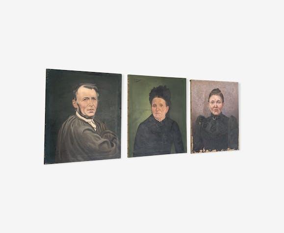 Triptyque portraits à l'huile