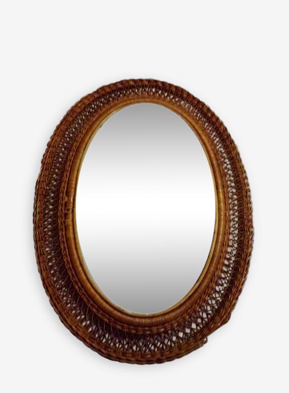 Miroir français rotin Bohème
