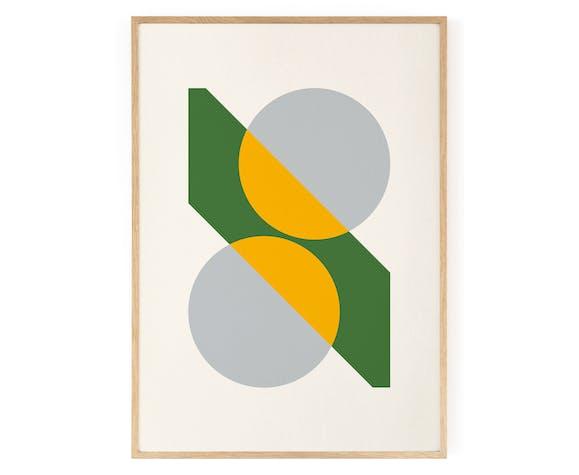 Deux cercles et une diagonale jaune et vert