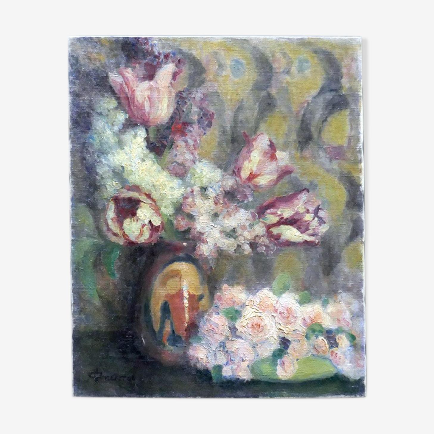 Tableau nature morte composition florale tulipes et roses années 30 signé G.Grenthe