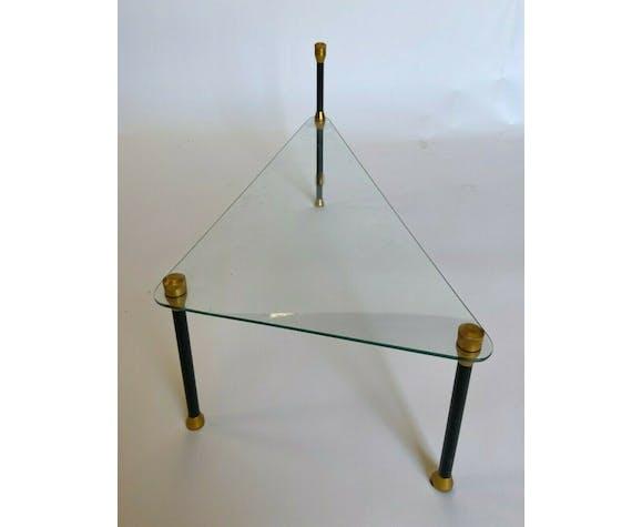 Table basse 1960 piètement noir metal dore vintage