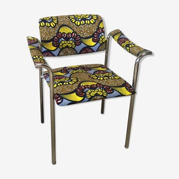 Vintage chrome armchair revisited ethnic way with multicolor wax