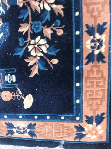 Small vintage Chinese handmade rug