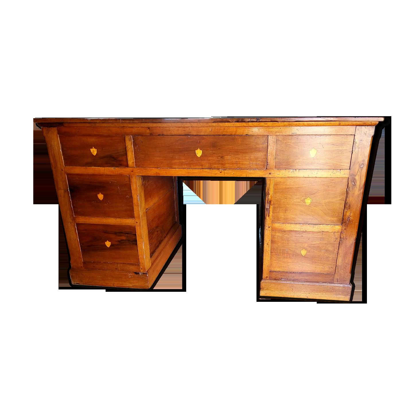 Table bureau en noyer massif xixe antiquites lecomte