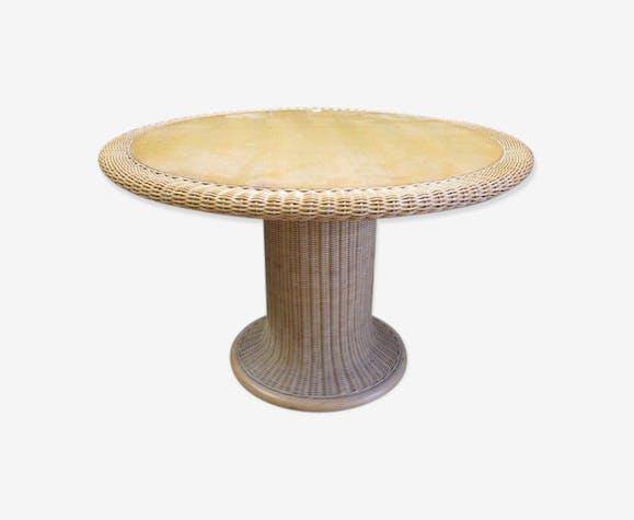 Tavolo Rotondo In Rattan.Tavolo Rotondo In Level Rattan And Wicker Transparent Vintage