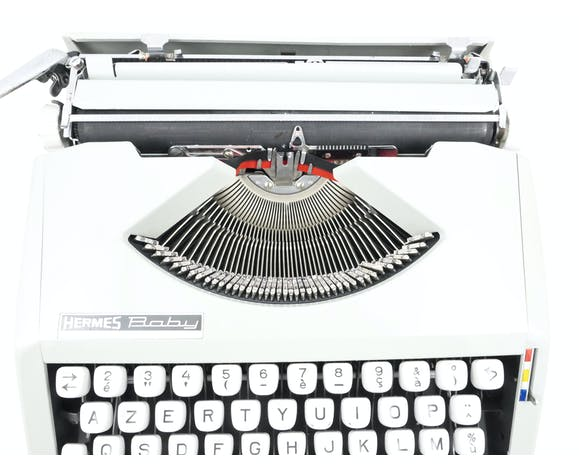 Machine à écrire hermes baby bleue aqua révisée ruban neuf