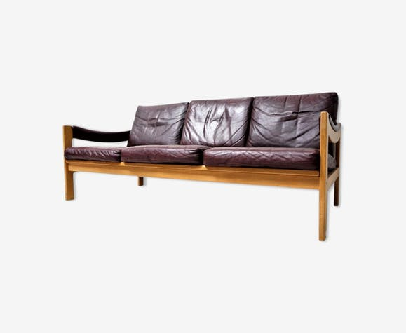 Scandinavian leather couch - leather - burgundy ...