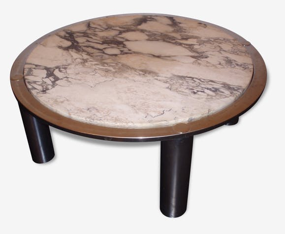 Table Basse Ronde Marbre Vintage Année 70 Metal Design 36304