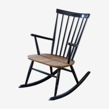 rocking chair de couleur noire vintage d 39 occasion. Black Bedroom Furniture Sets. Home Design Ideas