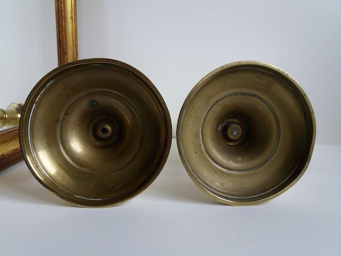 Pair of golden brass candlesticks