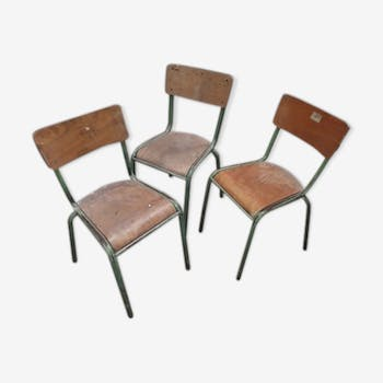 Suite of 3 school chairs