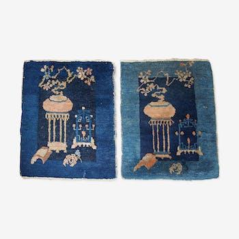 Pair of Chinese carpet 51cm x 59cm hand made Peking 1900 s