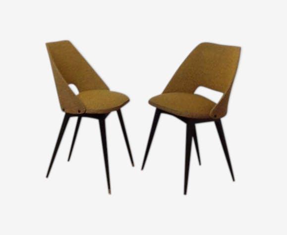paire de chaises cocktail scandinave tissu jaune vert bois mat riau jaune scandinave. Black Bedroom Furniture Sets. Home Design Ideas