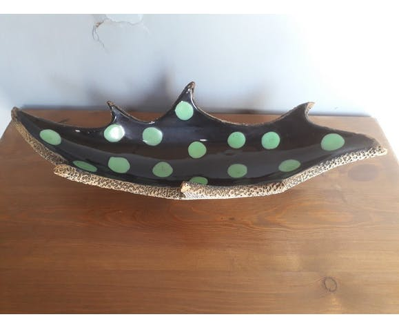 Ceramique vintage chene leaf ep 1950 center table