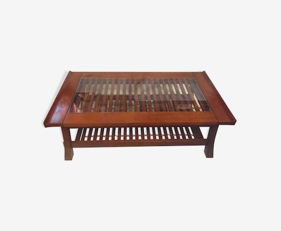 Table basse de style asiatique en bois exotique - teck ...