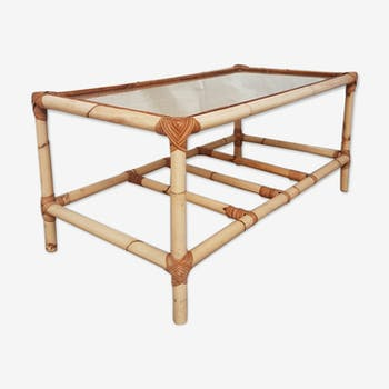 Vtg mid century bamboo wicker glass top ratten coffee occasional table retro