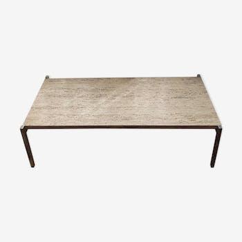 Table en travertin et chrome