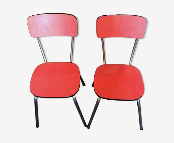 Lot 2 chaises formica rouge
