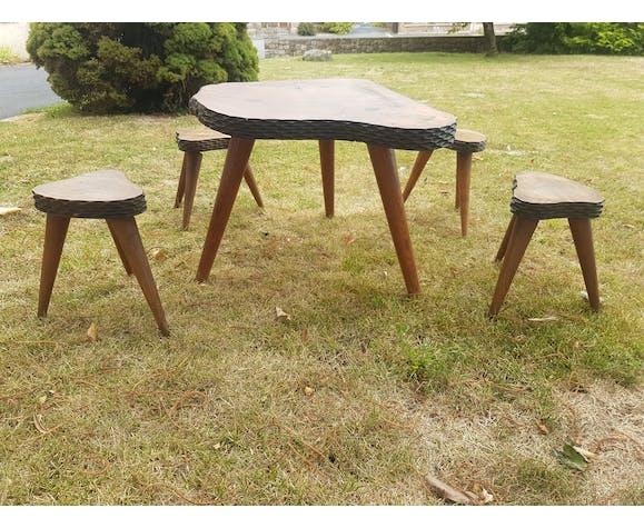 Table basse tronc et ses 4 tabourets, 1960