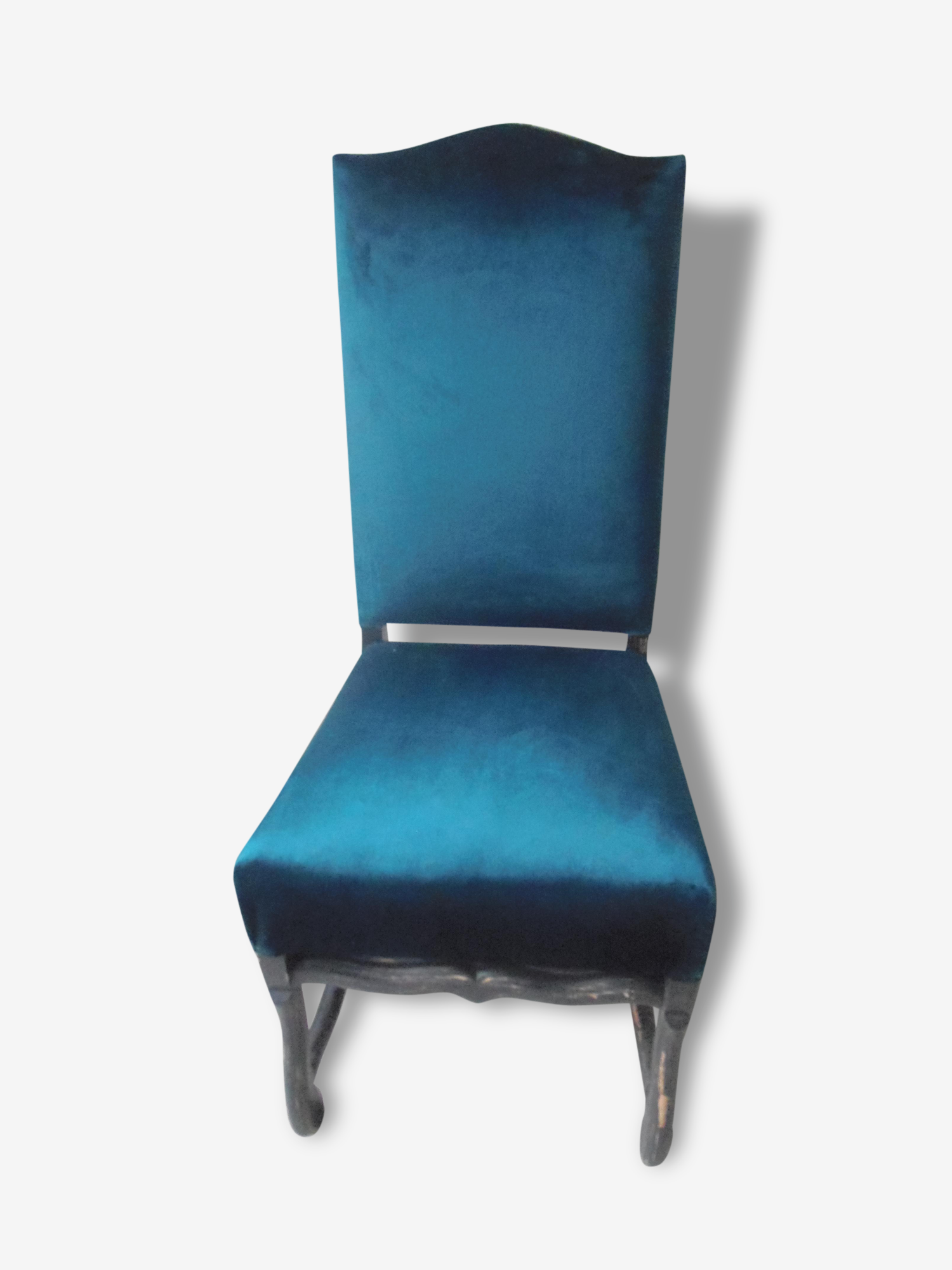 Chaise vintage style Louis XIII patinée gris ardoise