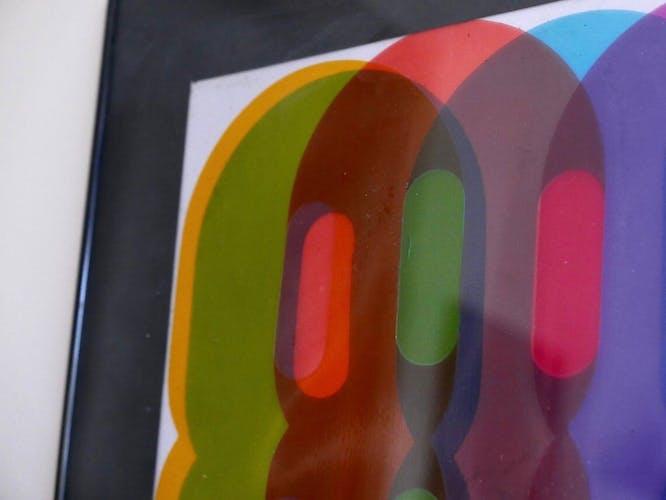 Tableau collage cinétique signé années 80