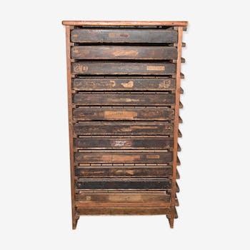Meuble de métier imprimerie fin XIXème siècle
