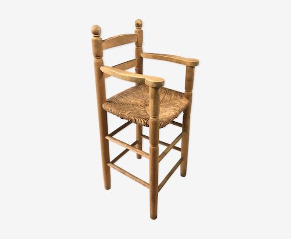 Chaise haute paillée en bois brut vintage