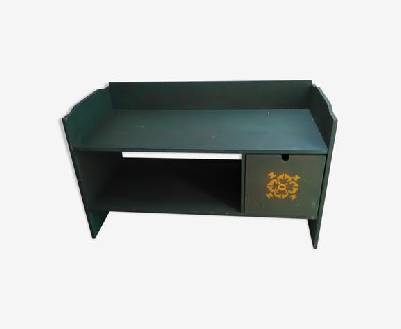 Banc Avec Rangement Bois Matériau Vert Vintage Ol96pnf