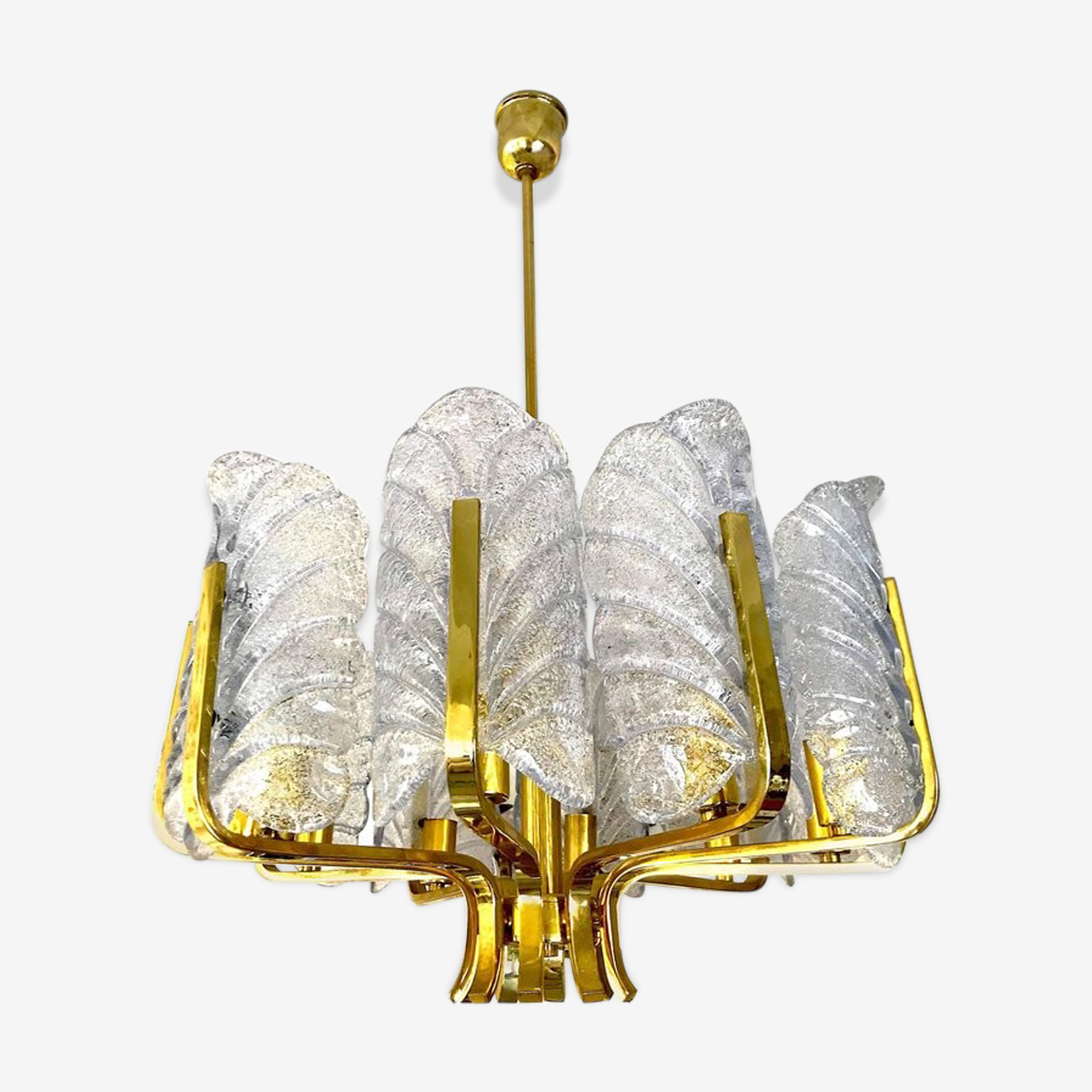 Chandelier Carl Fagerlund by Orrefors with Ten Barovier & Toso Murano 1960