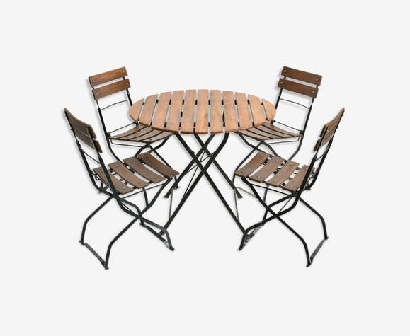 Ensemble de patio vintage table et chaises rondes allemandes