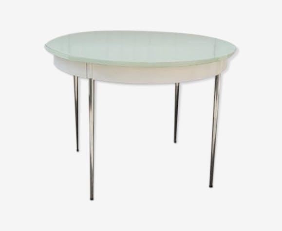 Table formica ronde vert pâle, années 70