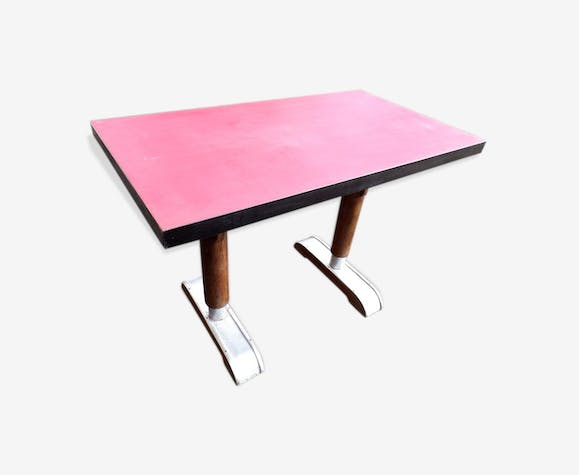 table bistrot ancienne pi tement ann es 50 bois mat riau rouge industriel dhzsqux. Black Bedroom Furniture Sets. Home Design Ideas
