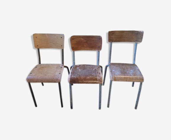 Lot de 3 chaises écoliers 1960