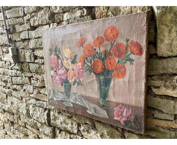 Peinture à l'huile naïve vases de fleurs années 50