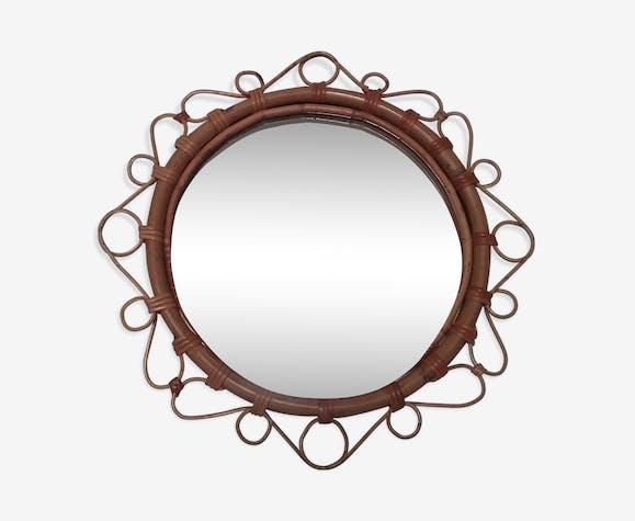Miroir vintage en rotin 35cm